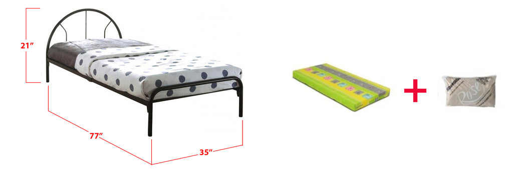 Pegus Metal Bed Frame With Foam Mattress In Single Size