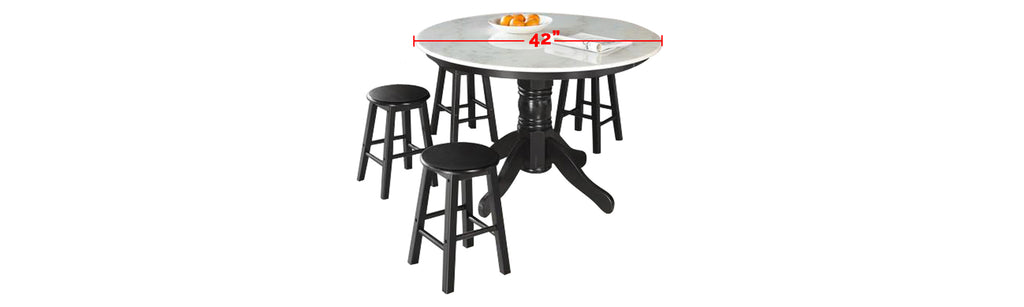 Reigh Series 2 Natural Marble Dining Set In Black