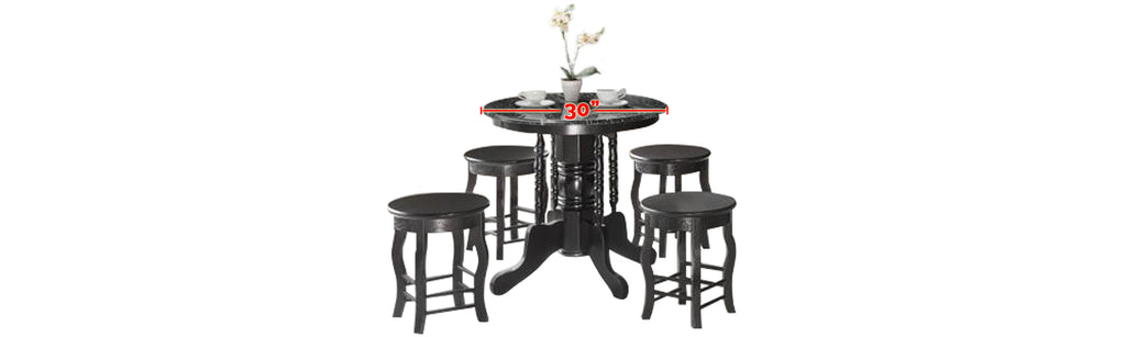Reigh Series 3 Natural Marble Dining Set In Black Black