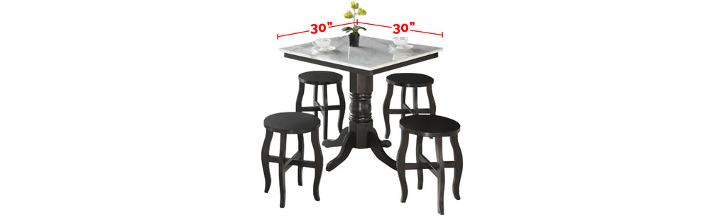 Reigh Series 4 Natural Marble Dining Set In White Black