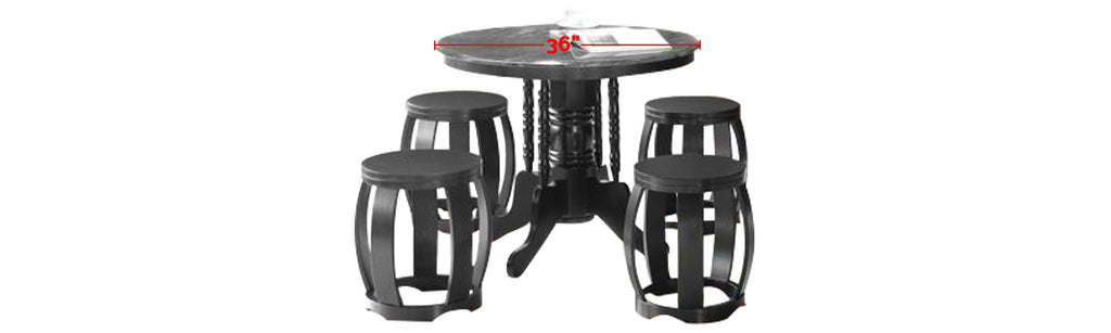 Reigh Series 7 Natural Marble Dining Set In Black Black