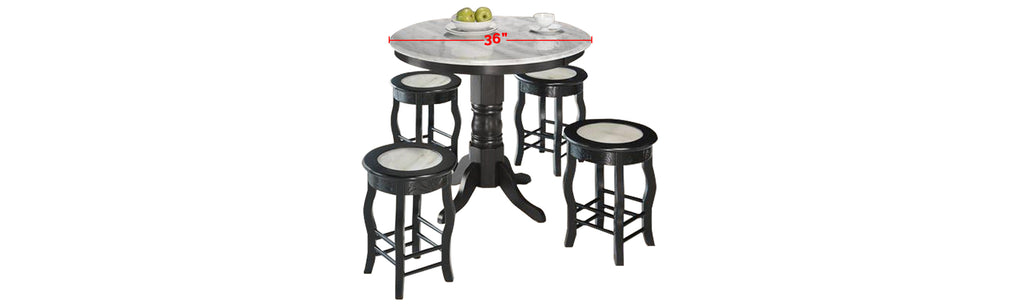 Reigh Series 8 Natural Marble Dining Set In White Black