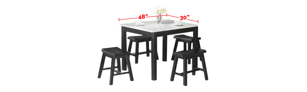 Reigh Series Natural Marble Dining Set In Black