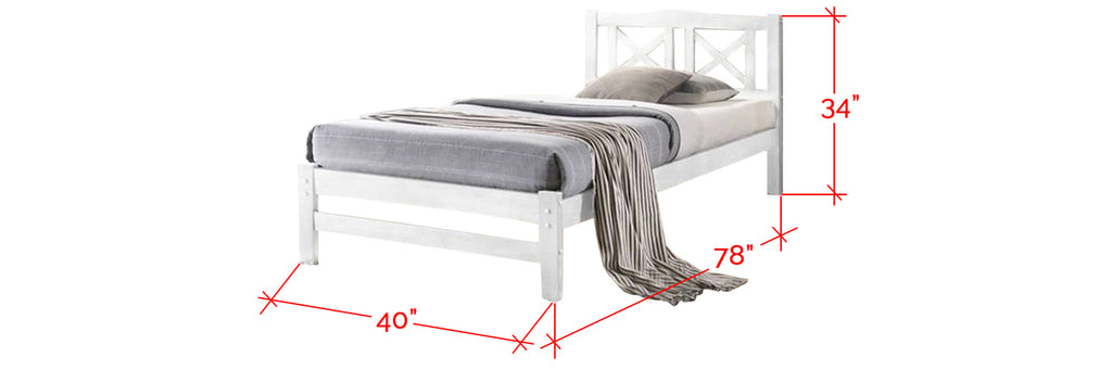Robby Series 10 Wooden Bed Frame White In Single Size