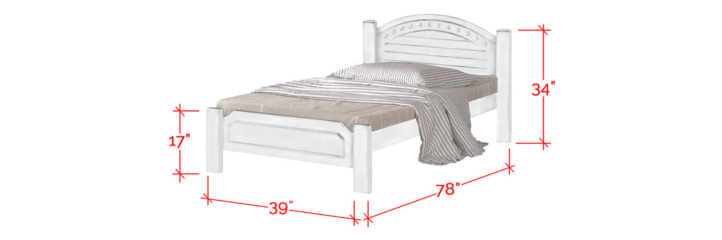 Robby Series 14 Wooden Bed Frame White In Single Size