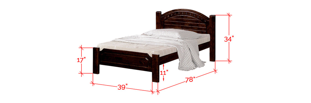 Robby Series 1 Wooden Bed Frame Cappuccino In Single Size