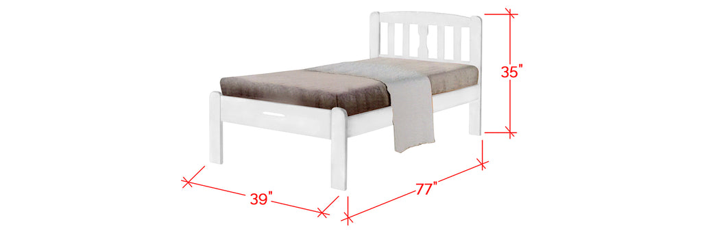 Robby Series 2 Wooden Bed Frame White In Single Size