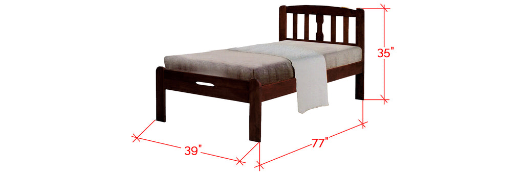 Robby Series 3 Wooden Bed Frame Cappuccino In Single Size