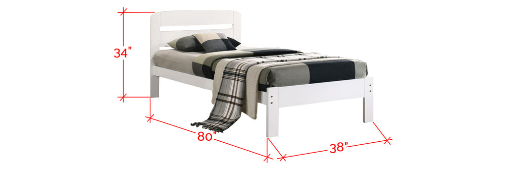 Robby Series 9 Wooden Bed Frame White In Single Size