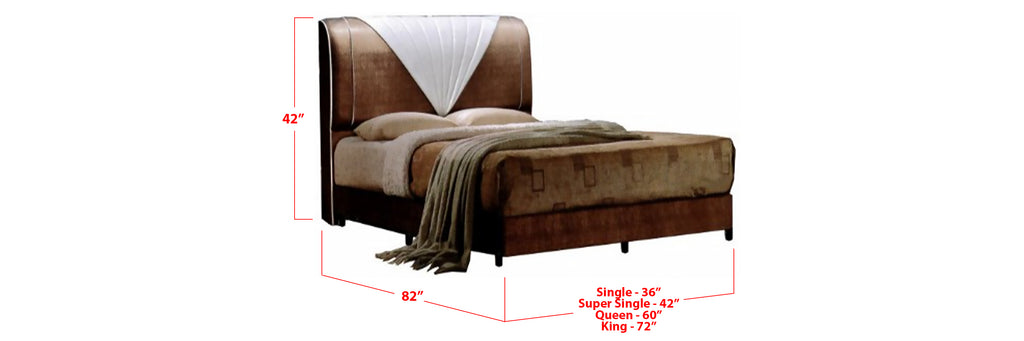 Roux Faux Leather Bed Frame Dark Brown In Single, Super Single, Queen, and King Size