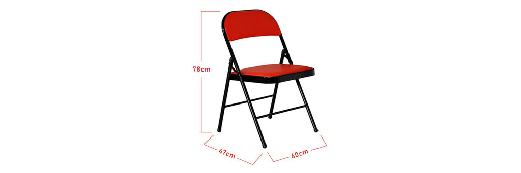 Ruger Folding Dining Chair In Red Black