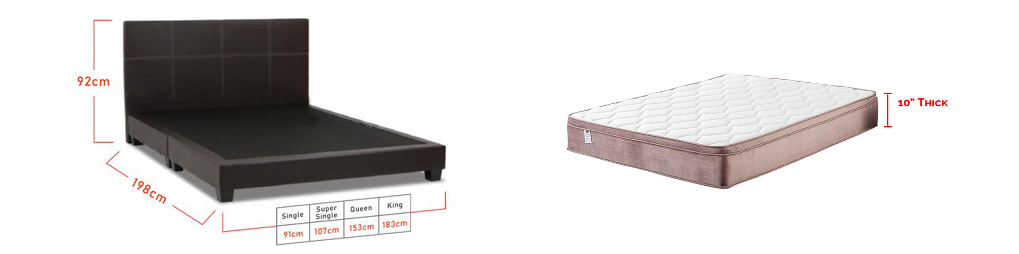 Sabrina Bed Frame + 10 inch Diomire Latex Mattress In Single, Super Single, Queen, and King Size