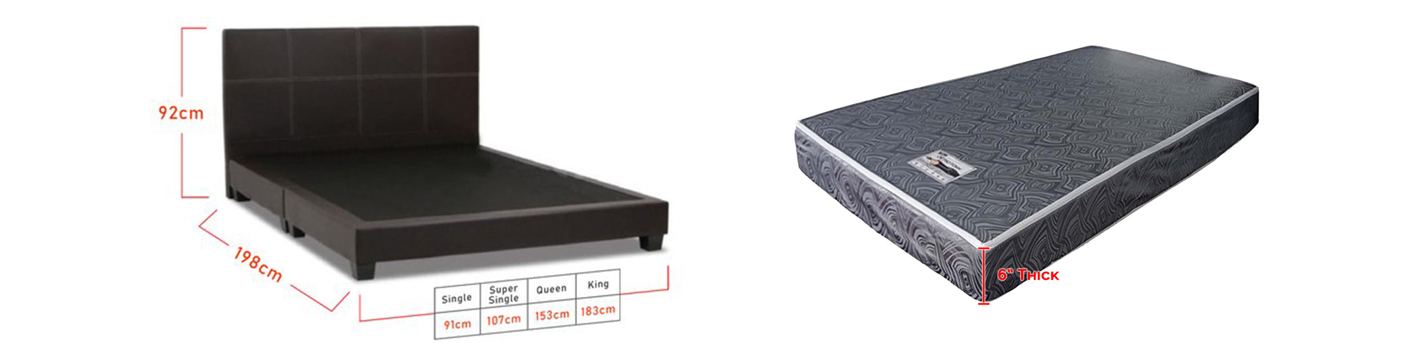 Sabrina Bed Frame + 6 inch HD Foam Mattress In Single, Super Single, Queen, and King Size