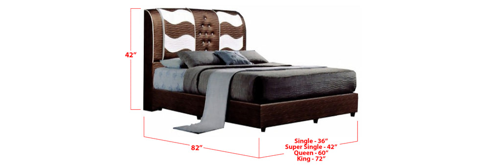 Sage Faux Leather Bed Frame Brown White In Single, Super Single, Queen, and King Size