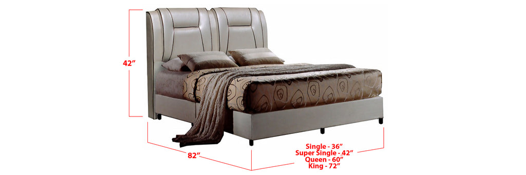 Scout Faux Leather Bed Frame Beige In Single, Super Single, Queen, and King Size