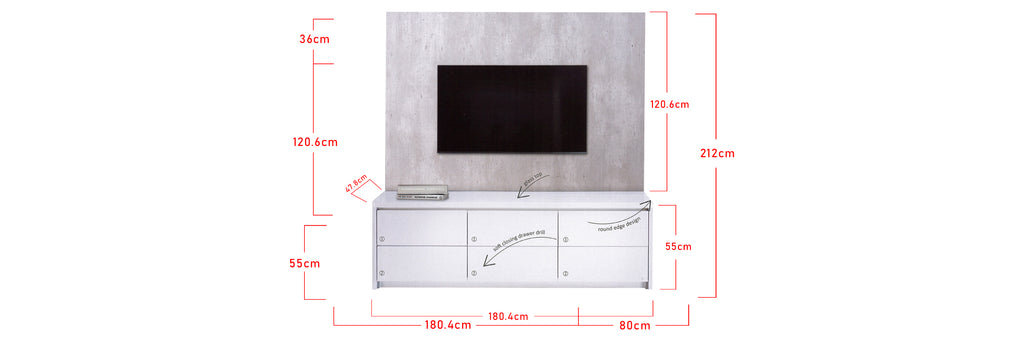 Shiro TV Console Table Cabinet with Drawers In White
