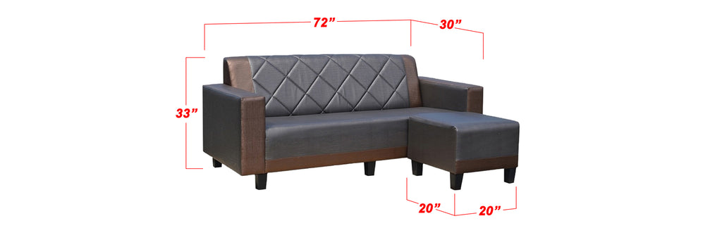 Silie 123 Seater Faux Leather Sofa In Brown