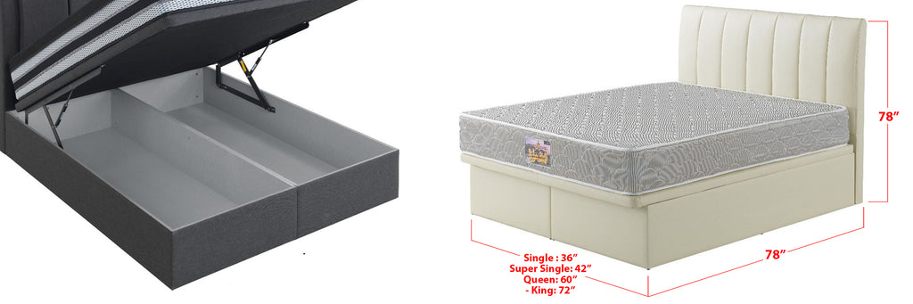 Demor Leather Storage Divan In Single, Super Single, Queen, and King Size