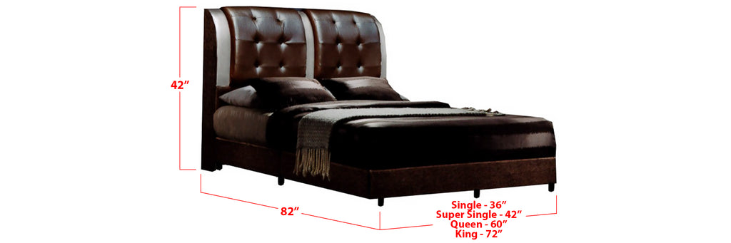 Sutton Faux Leather Bed Frame Dark Brown In Single, Super Single, Queen, and King Size