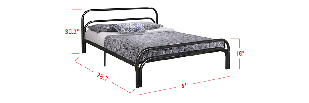 Suzana Series 10 Metal Bed Frame Black In Queen Size