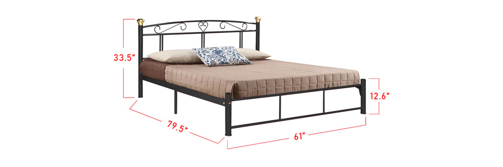 Suzana Series 13 Metal Bed Frame Black In Queen Size