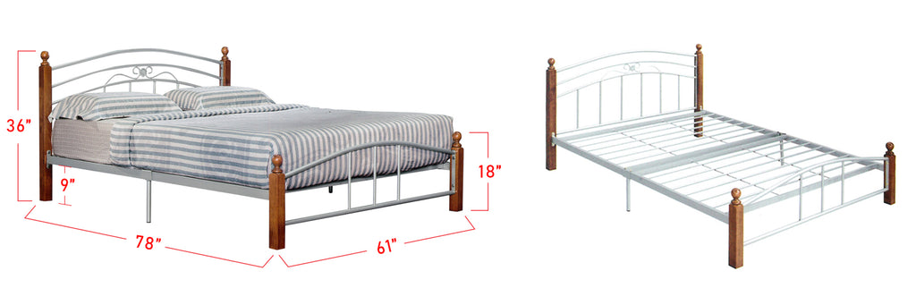 Suzana Series 1 Metal Bed Frame White In Queen Size