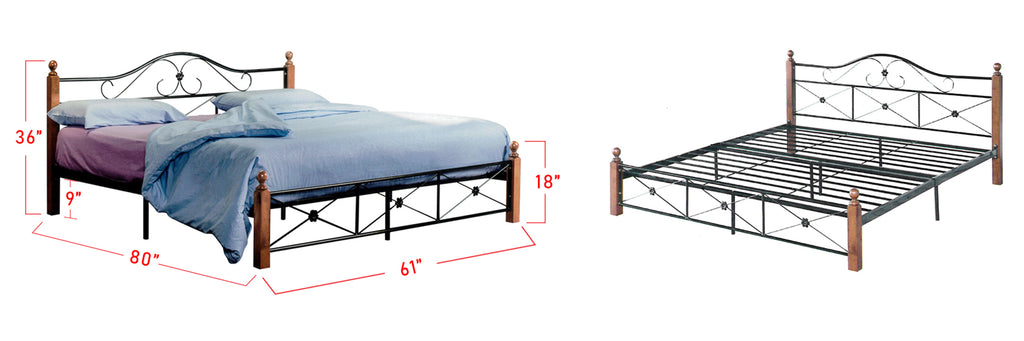 Suzana Series 2 MetalWooden Bed Frame BrownWhite In Queen Size