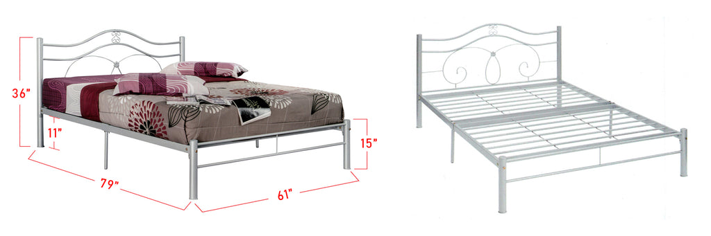 Suzana Series 3 Metal Bed Frame White In Queen Size