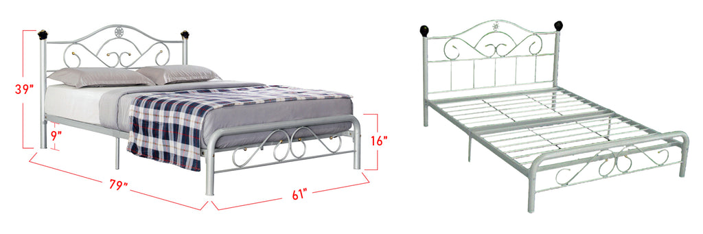 Suzana Series 4 Metal Bed Frame White In Queen Size