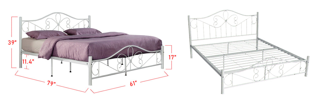 Suzana Series 5 Metal Bed Frame White In Queen Size