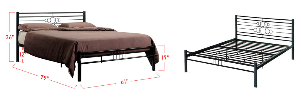 Suzana Series 6 Metal Bed Frame Black In Queen Size