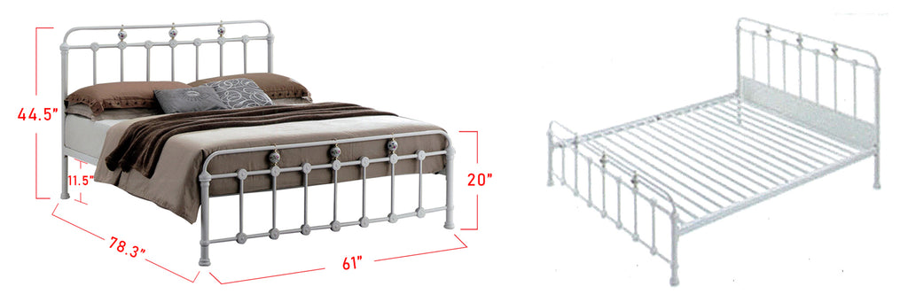Suzana Series 8 Metal Bed Frame White In Queen Size