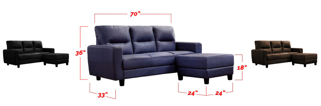 Taylor 3 Seater Faux Leather Sofa With Stool In 3 Colors