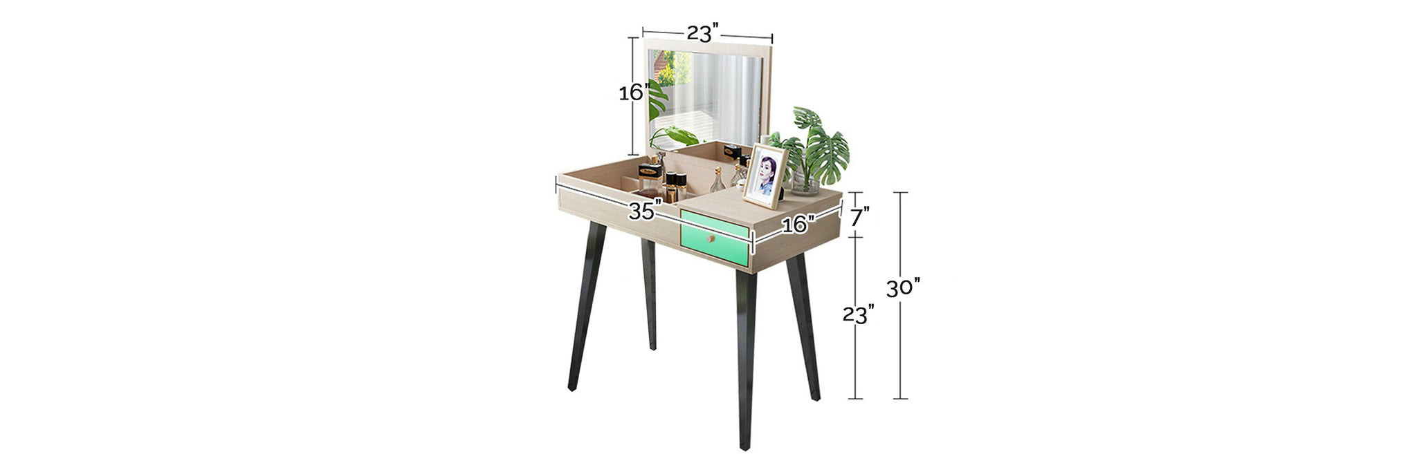 Helsinki Modern Dressing Table With Stool In Green/ White Wash