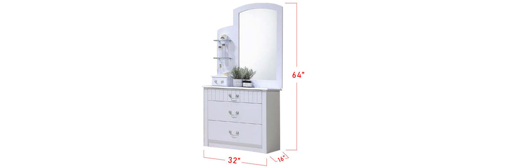 Yoon Series F Korean Style Dressing Table In White