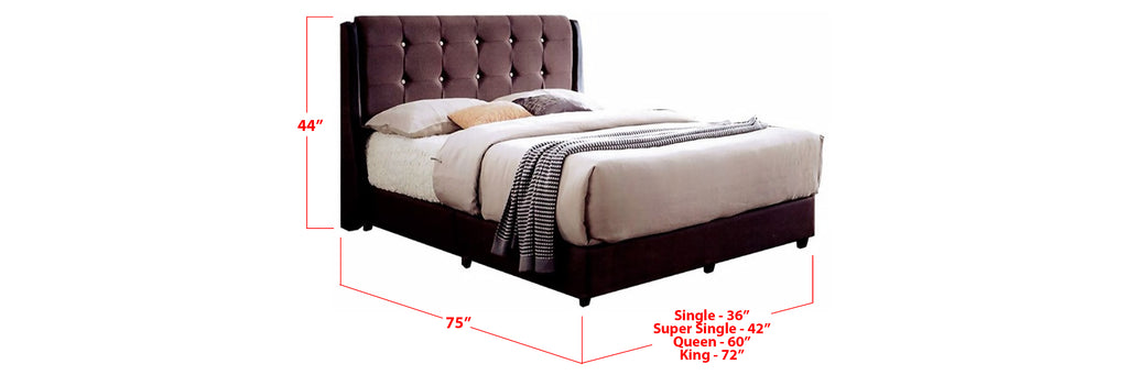 Zabby Fabric Bed Frame Dark Brown In Single, Super Single, Queen, and King Size