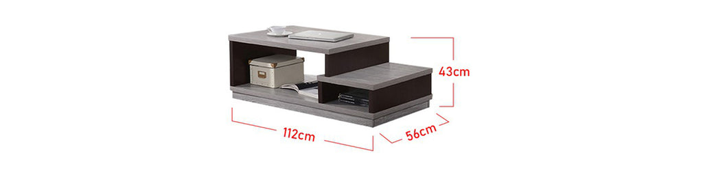 Zahra Series 2 Coffee Table In Grey Black