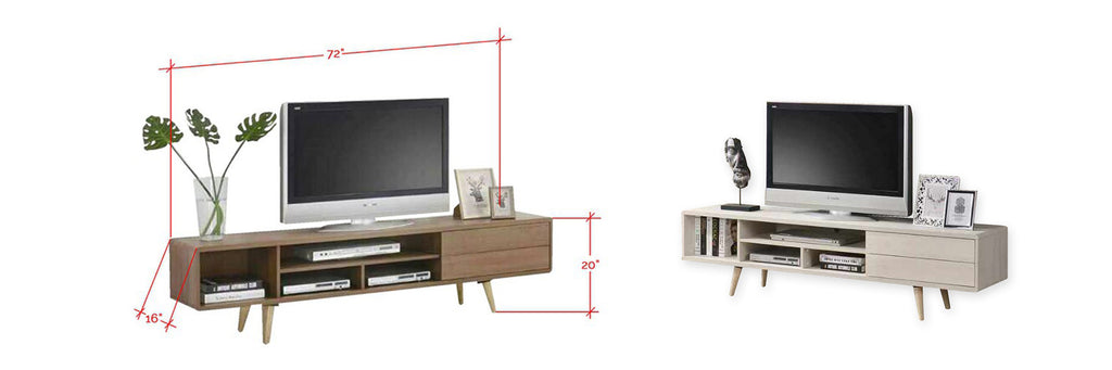 Lallie 6 Feet Wooden TV Console Cabinet In Brown and White Wash