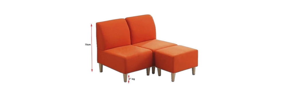 Lindon 2 Seater Fabric  Faux Leather Sofa With Stool