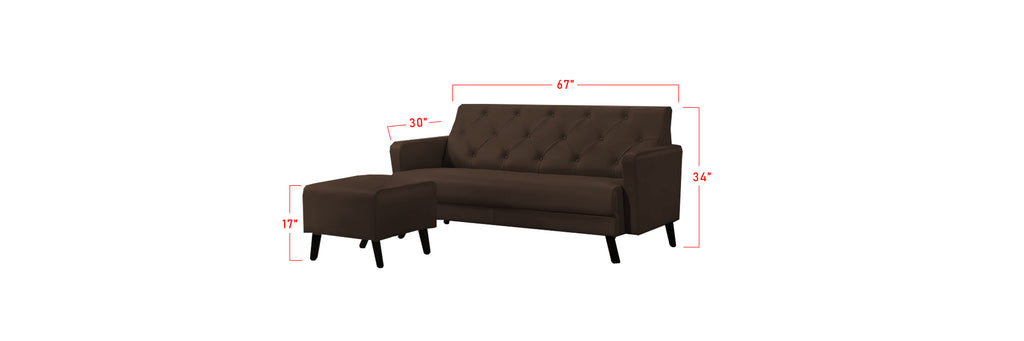 Iris 3 Seater Leather Sofa With Chaise Dimension
