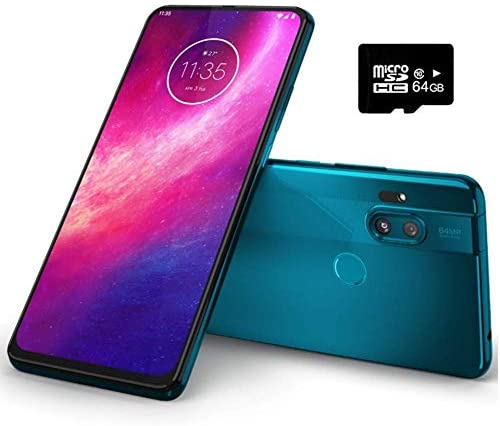 "Motorola Moto One Hyper (128GB, 4GB) 6.5"", 32MP Pop-up Camera, 45W Hyper Charging, Dual SIM Unlocked (AT&T/T-Mobile/MetroPCS/GSM) XT2027-1 (Blue Iceberg, 64GB SD Card + Case Bundle)"