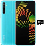 "Realme 6i (64GB, 3GB) 6.5"" HD+ Display, 5000mAh Battery, Helio G80, Dual SIM GSM Unlocked Global 4G LTE (T-Mobile, AT&T, Metro, Straight Talk) International Model RMX2040 (64GB SD Bundle, Jelly Blue)"