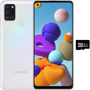 "Samsung Galaxy A21S (64GB, 4GB) 6.5"", Quad Camera, All Day Battery Dual SIM GSM Unlocked Global 4G LTE VoLTE (T-Mobile, AT&T, Metro, Straight Talk) International Model A217M/DS (64GB SD Bundle, White)"
