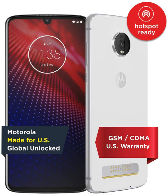 Moto Z4 – Unlocked – 128 GB – White (US Warranty) - Verizon, AT&T, T-Mobile, Sprint, Boost, Cricket, Metro - PAF60009US