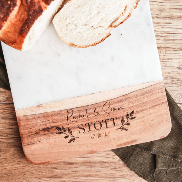 Personalised Wood and Marble Chopping Board