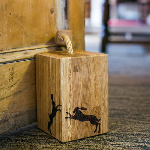 Solid Oak Boxing Hares Doorstop