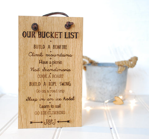 Personalised Bucket List Sign
