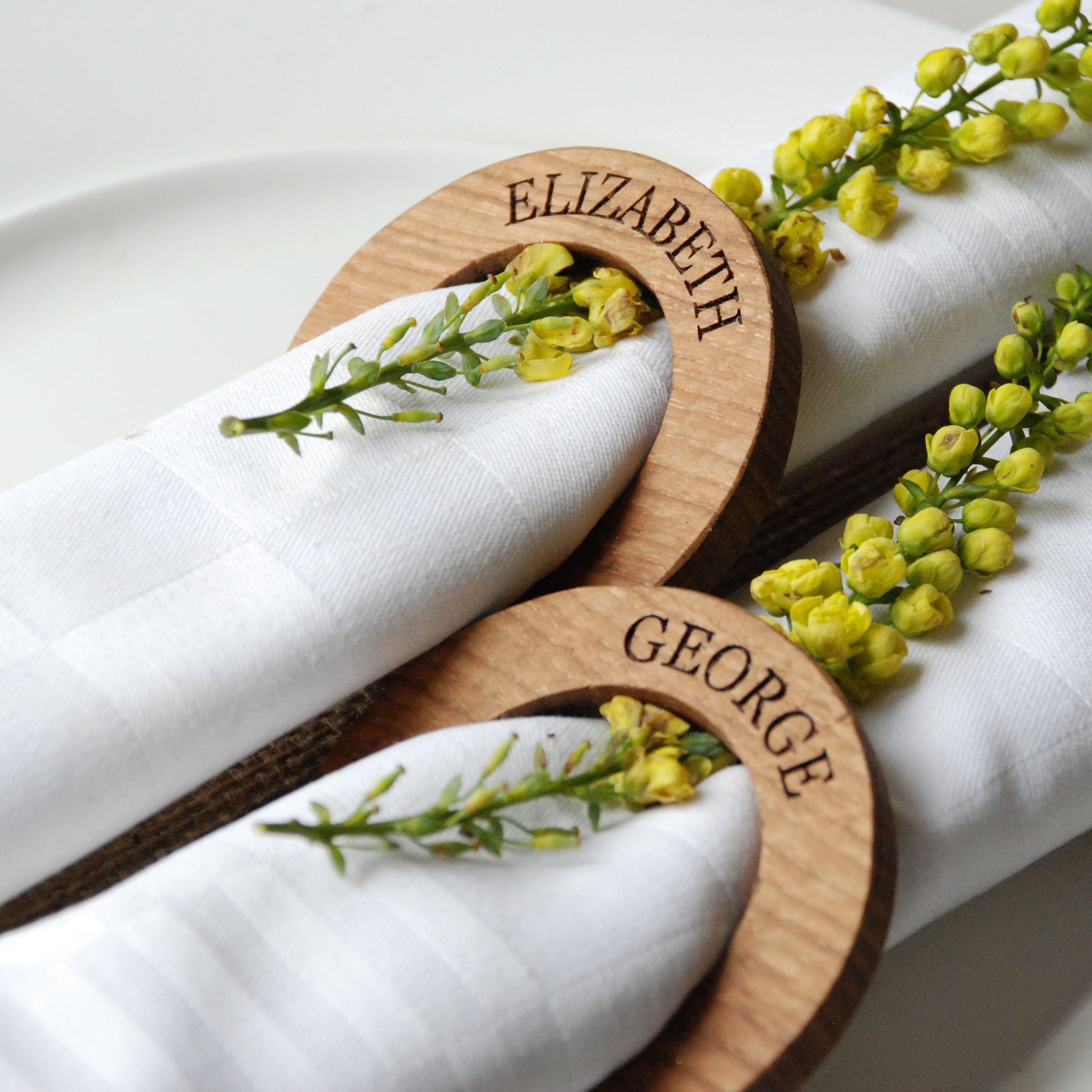 Personalised Oak Napkin Rings