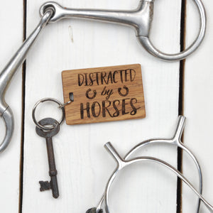 Distracted By Horses Keyring