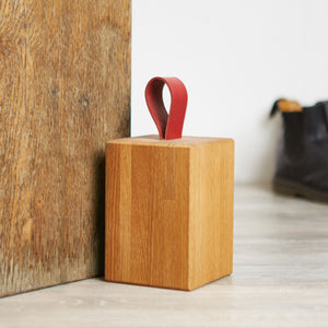 Leather and Oak Doorstop